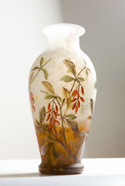 Daum Nancy Vase With Berries France 1910 Of The Nouveau Era