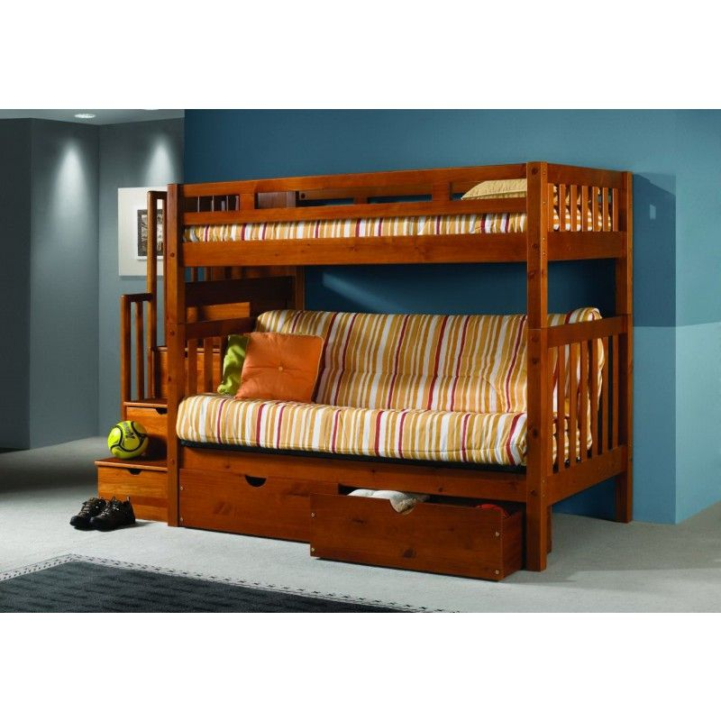 Bunk Bed Over Futon Tall Mission Stairway Twin Wood