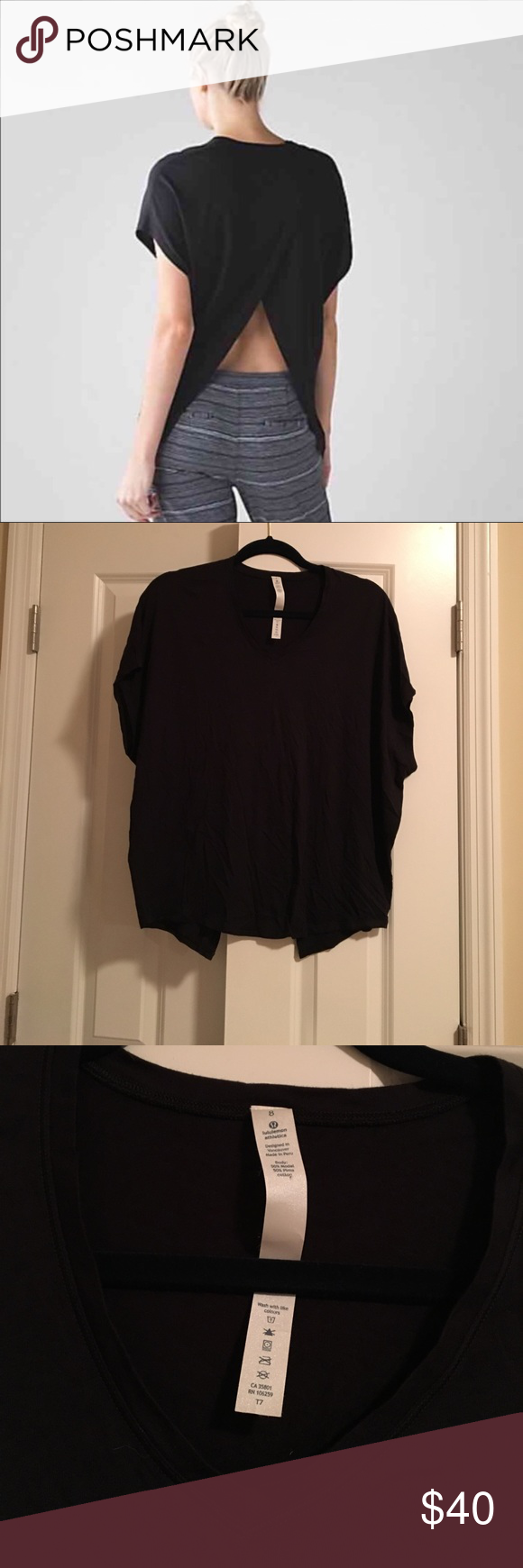 Lululemon devout split back tee black This tee was literally never worn! I removed the tag but it has never been worn or even washed. It's a pretty hard style to find in black! I ❤️ offers! lululemon athletica Tops