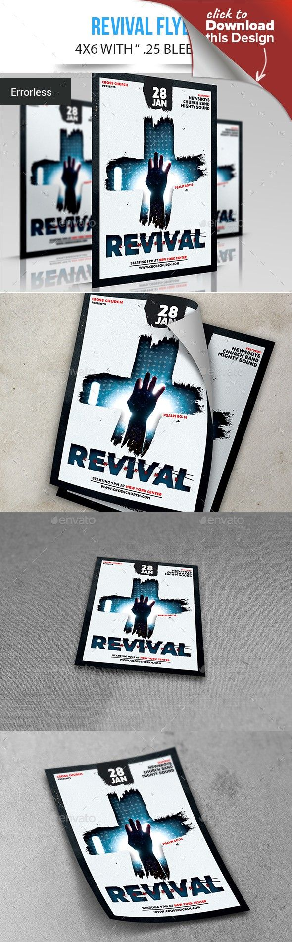Revival | Flyer layout, Print fonts and Template