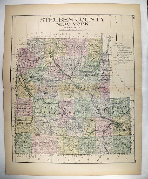 Antique Steuben County Ny Map 1912 Large Vintage Map Steuben County