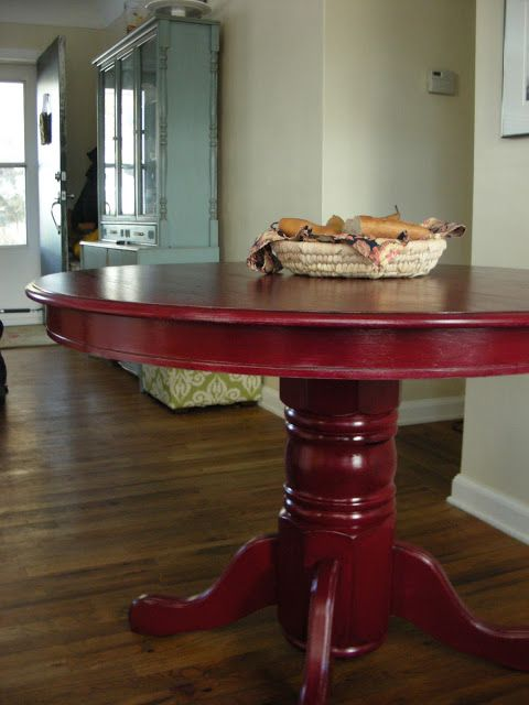 Going To Give My Round Table A Red Face Lift Painted Kitchen Tables Painted Dining Table