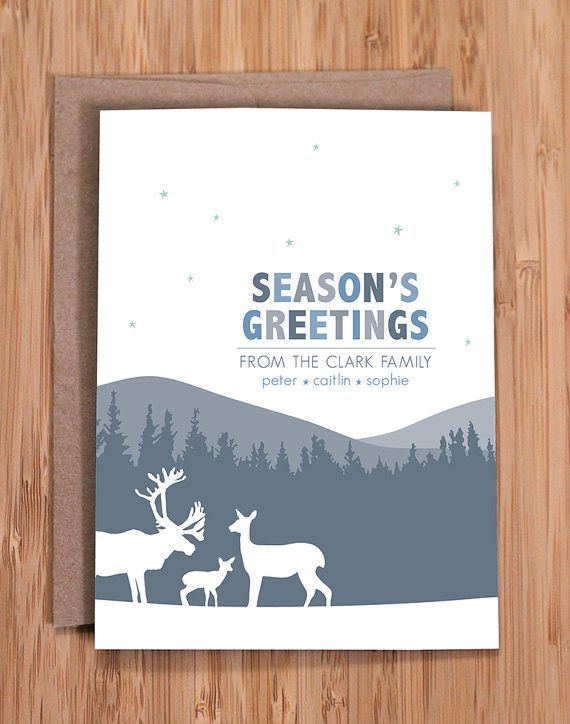 Custom Holiday Cards Deer Family Personalized Stationery