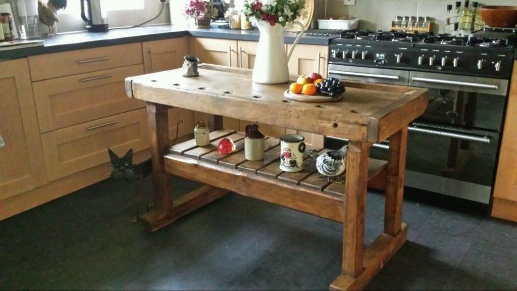 Kitchen Prep Table Lightweight Cabinets Rustic Island Butchers Block Antique Workbench