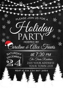 Black And White Christmas Party Invitations Christmas Party