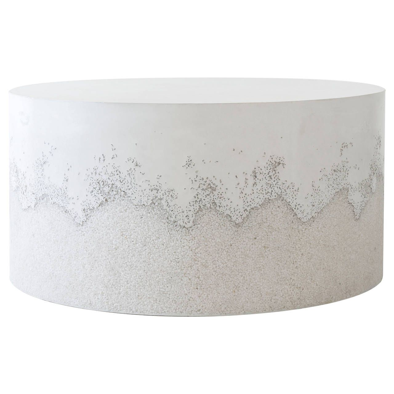 White Cement And Crystal Quartz Drum Coffee Table Drum Coffee