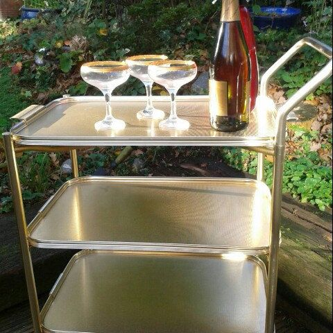 Retro 60/70s woodmet drinks/tea trolley WantitVintage etsy