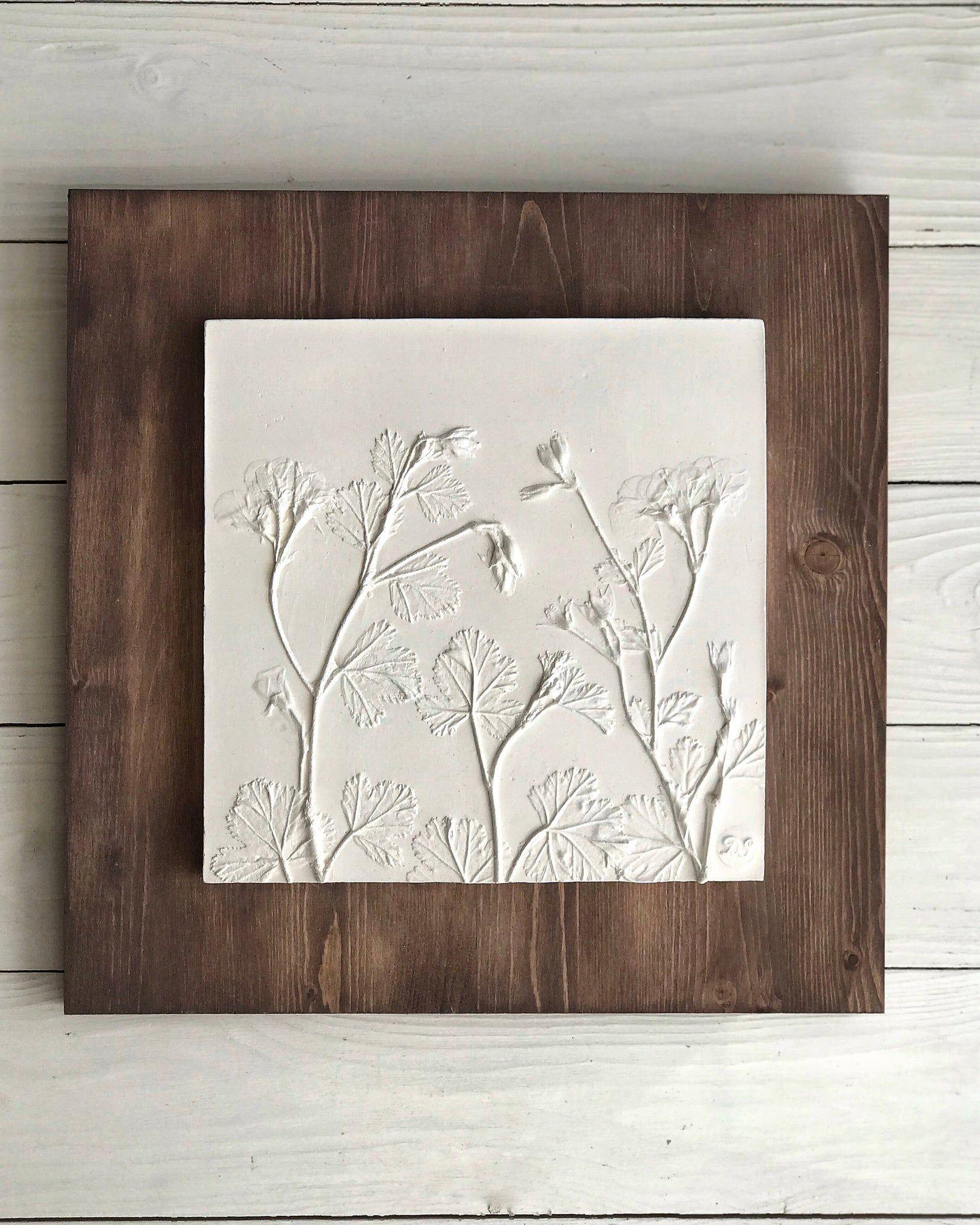 Square Scandinavian Plants Wall Sculpture Modern Plaster Cast Etsy In 2020 Above Bed Decor Plaster Wall Art Wall Sculptures
