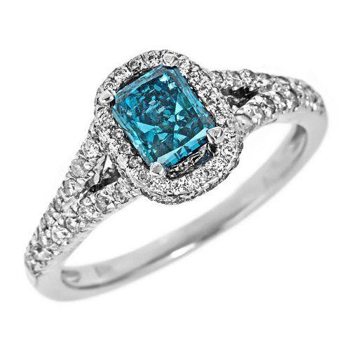 ring asscher sky blue diamond engagement