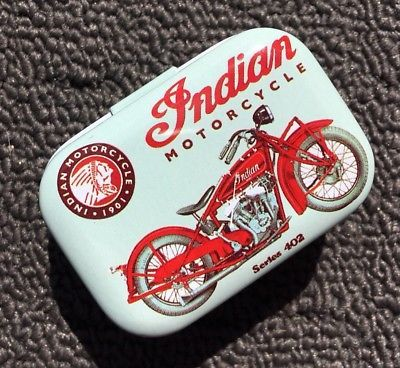 Indian Motorcycle Pale Green Collectable Metal Trinket Tin Tobacco Box New Vintage Tins Vintage Box Tin Boxes