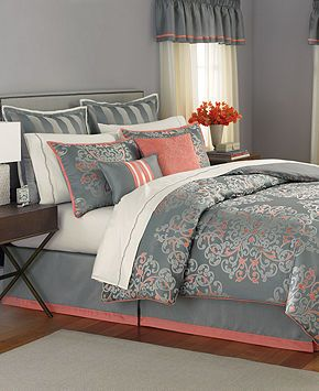Gray and Coral master bedroom. Our bedding set Martha Stewart