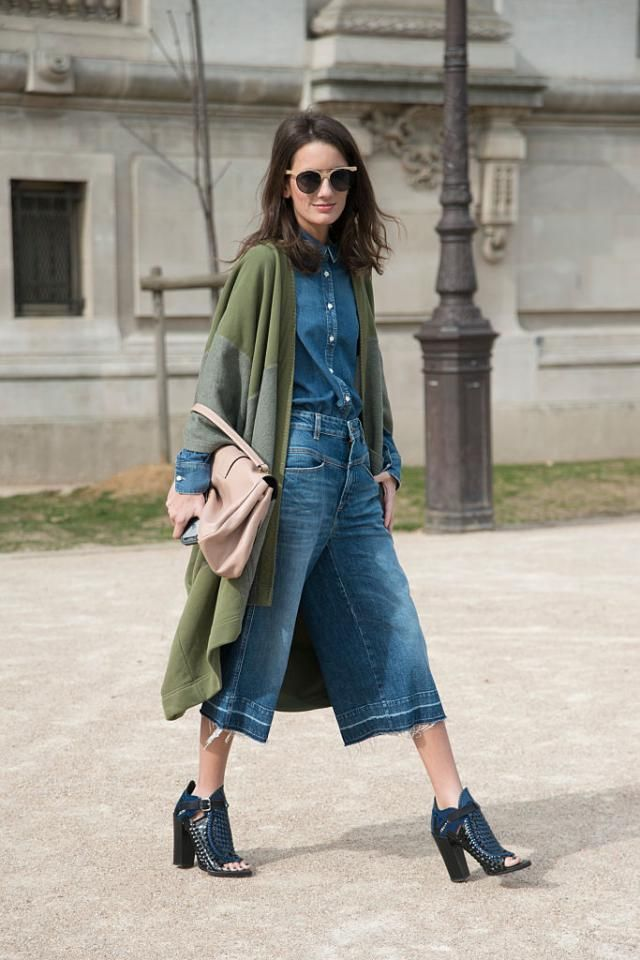 e1966696564de0 How to Wear Trendy Denim Culottes Like a Fashion Expert: Casual Style in Denim  Culottes - Head-to-Toe Color (Great for Petites)