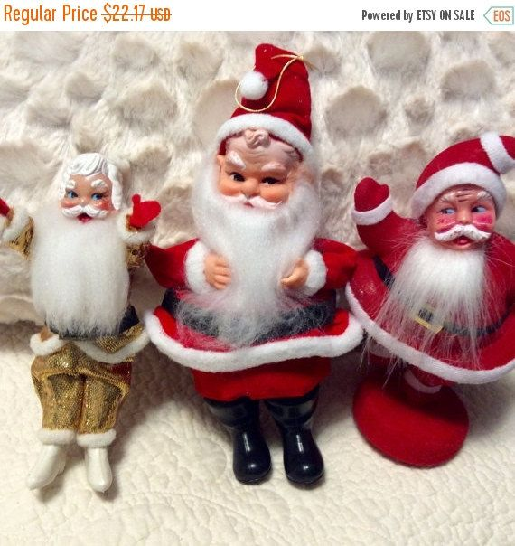 Three Mid Century Santa Christmas Ornament Decorations 1960s Japan