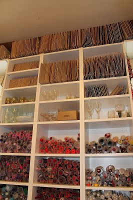 miracle design - at the top of the shelf are exquisite special buttons, never used and still in their shipping envelopes - Button and Bead Shop in Vienna