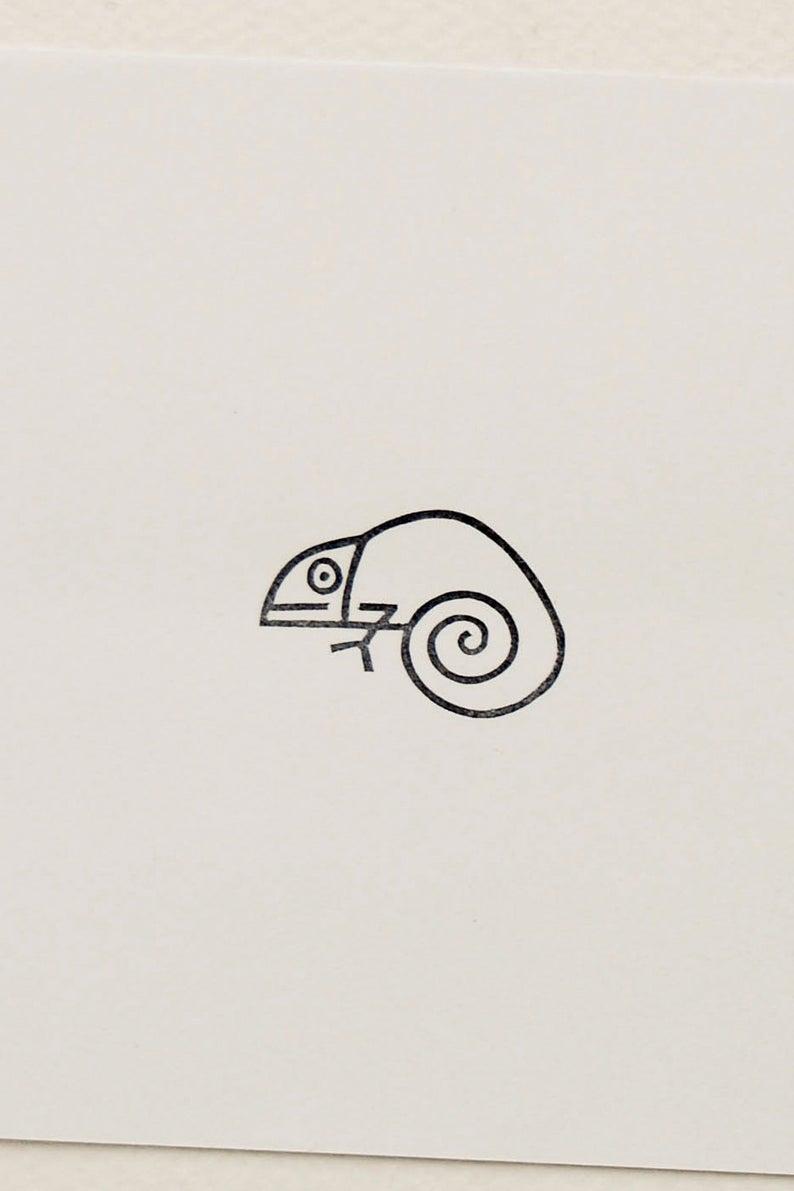 Chameleon stamp hand carved stamp baby chameleon mini | Etsy