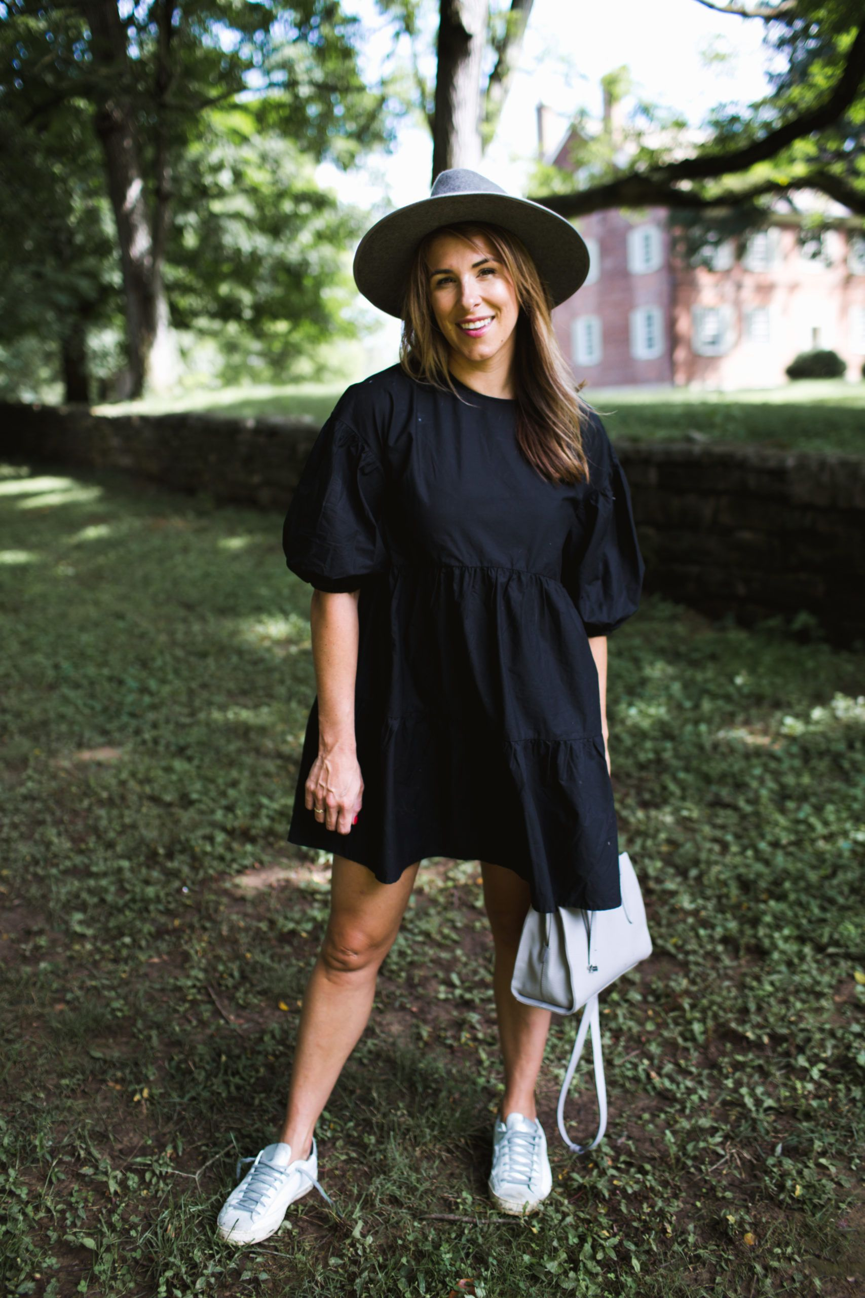 The 30 Dress To Take You From Summer To Fall Lou What Wear Wide Brim Hat Outfit Casual Fall Outfits Outfits With Hats [ 2560 x 1707 Pixel ]