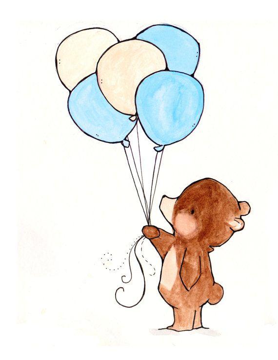 Balloon Bear  Nursery Art in 2019  Baby Room Stuff