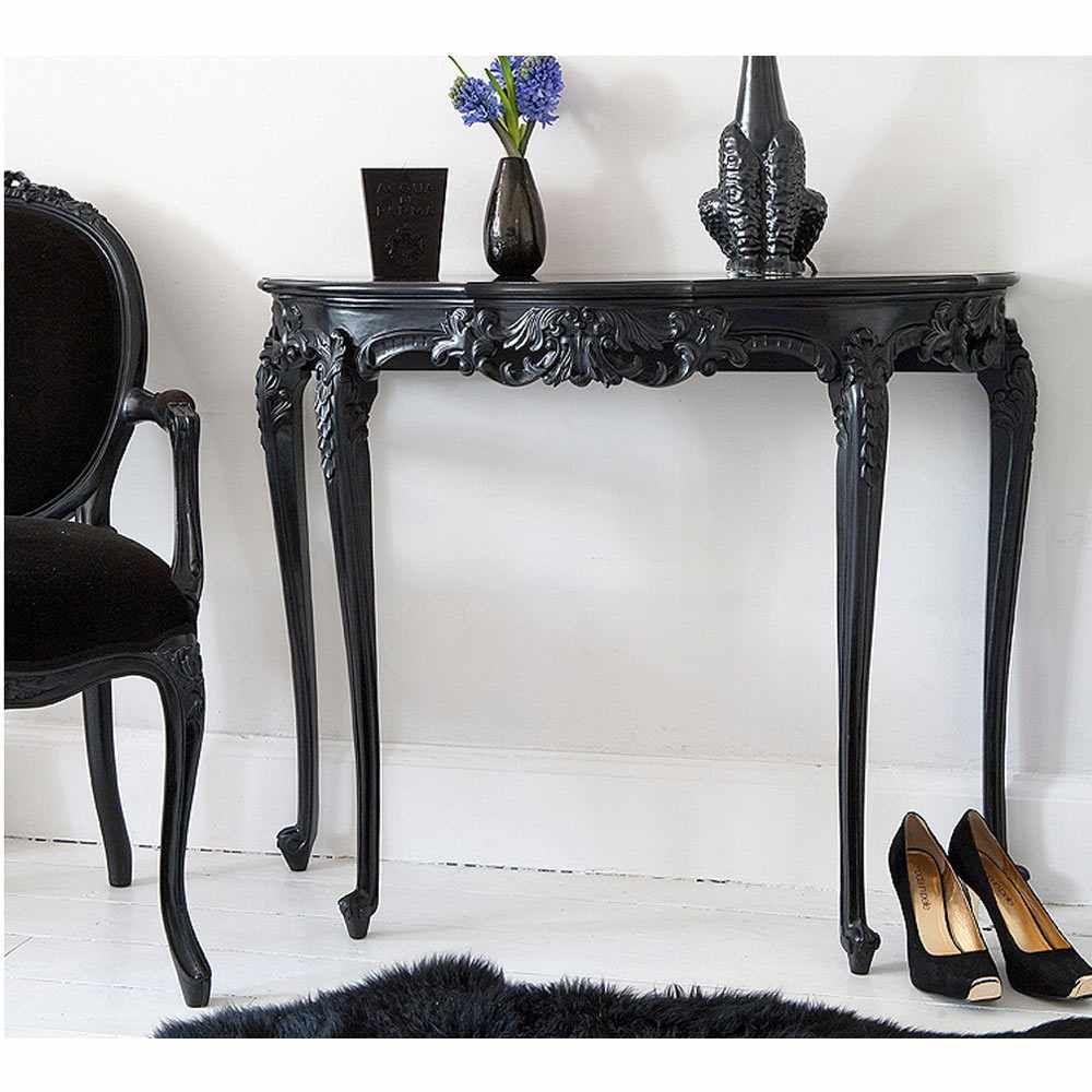 Sassy boo black console table console table black french sassy boo black console table geotapseo Images