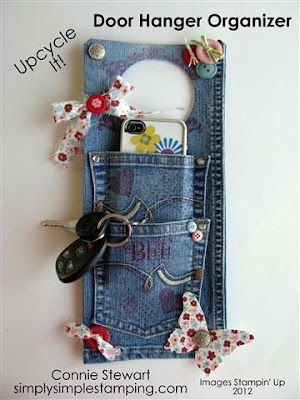 Denim door hanger from Simply Stamping. Great way to upcycle a pair of jeans. There is no how to, but it looks pretty straight forward. I think you could also do a new sew version of this without any difficulties.