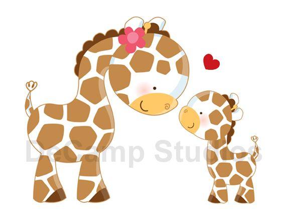 Giraffe and her baby Wall Mural Decal for baby girl boy safari ...