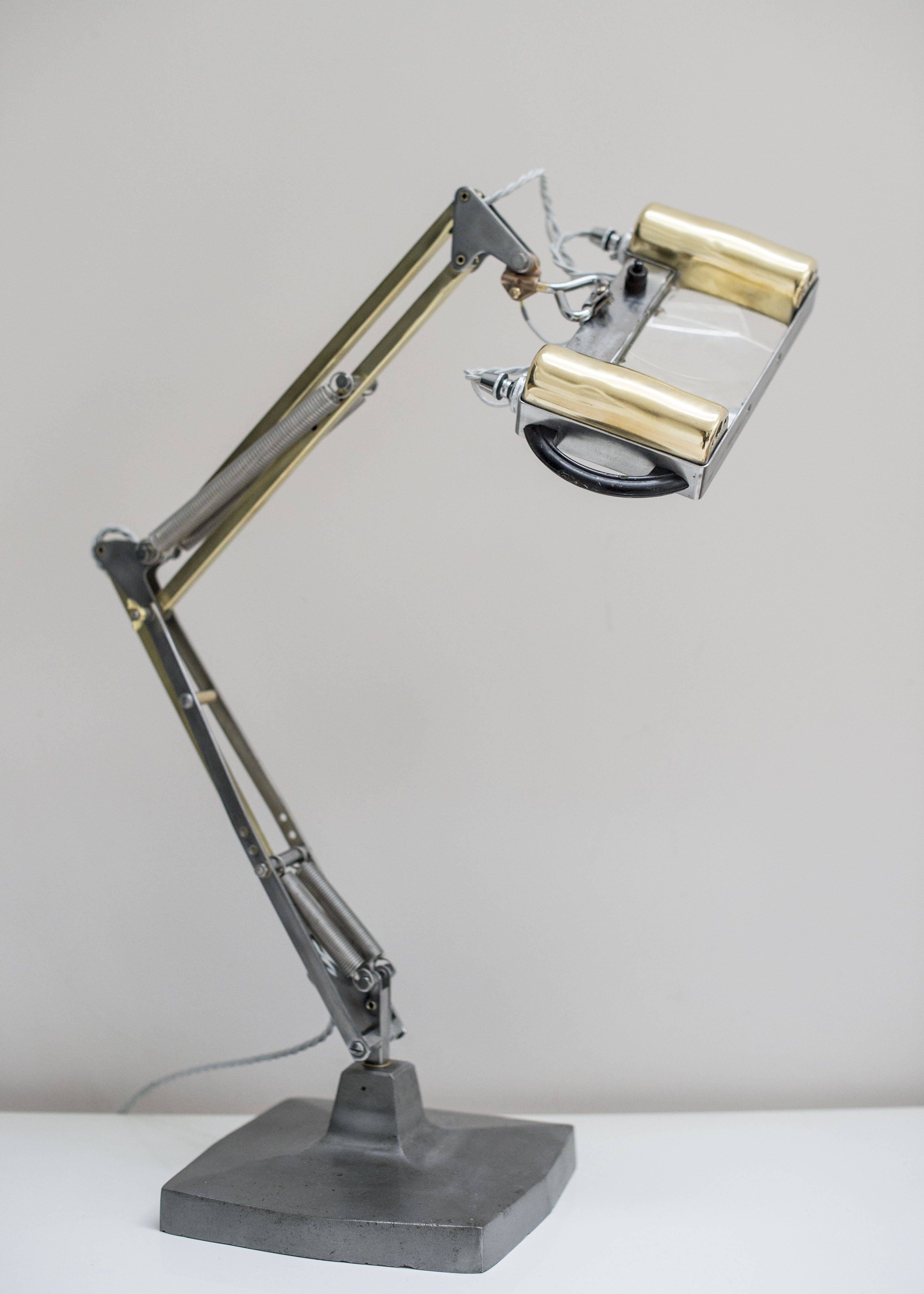 anglepoise lighting. super rare 1431 herbert terry magnifying anglepoise lamp early magnifier version with side light illumination stripped and polished to a high standard lighting