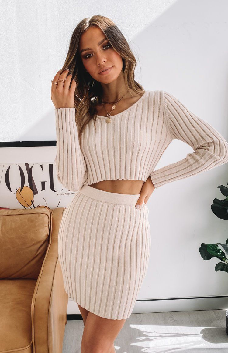 Sixteen Candles Ribbed Mini Skirt Beige Two Piece Dress Casual Two Piece Dress Fancy Outfits [ 1164 x 750 Pixel ]