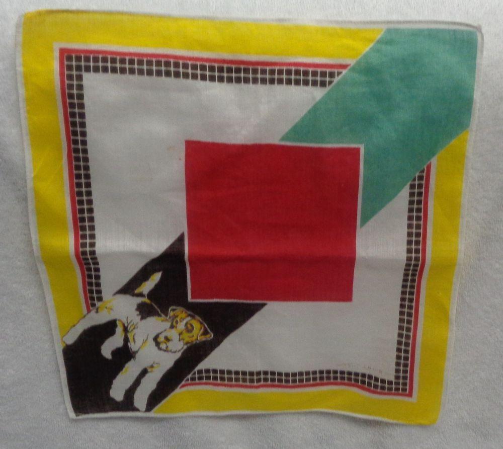 Tom Lamb Terrier  Color Blocked  Yellow  Edging White Edge  Child's Handkerchief #TomLamb #Childrens