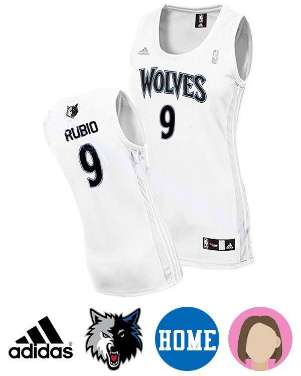 e25b68ff7f9 Sport this Women s Adidas Minnesota Timberwolves  9 Ricky Rubio White  Revolution 30 Swingman Home Jersey while your team are heating up the  stadium.