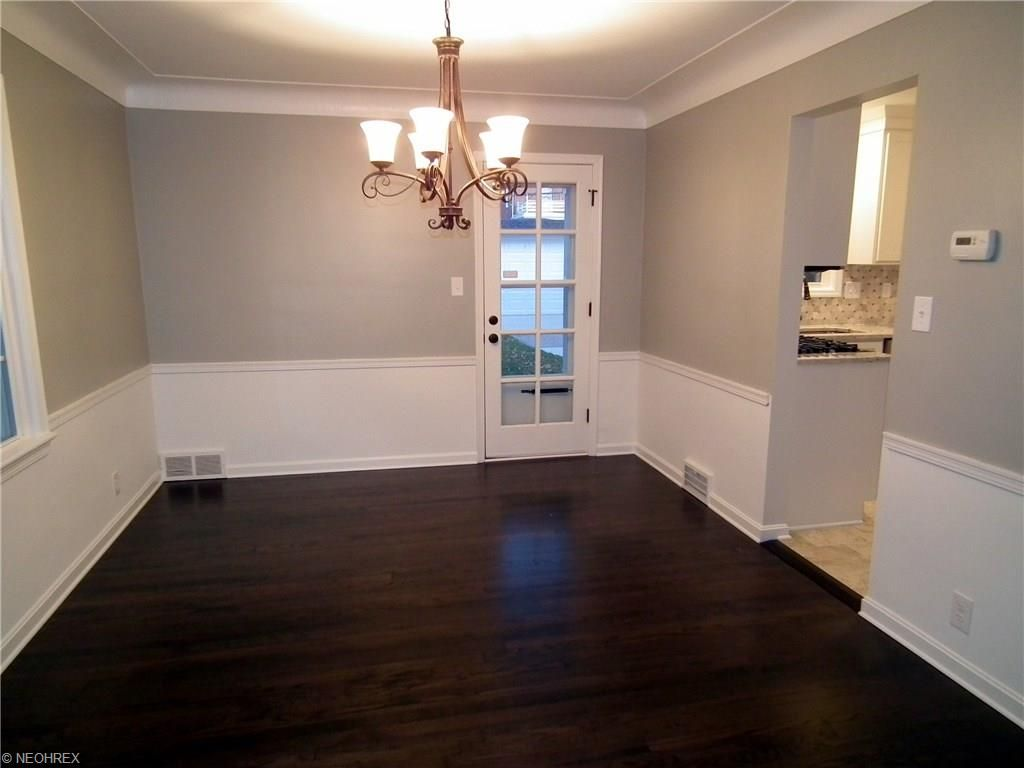 Shaker Heights OH Dining Room Remodel: Refinished Dark Hardwood Flooring,  Sherwin Williams Mindful Gray