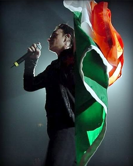 Bono with Irish flag.