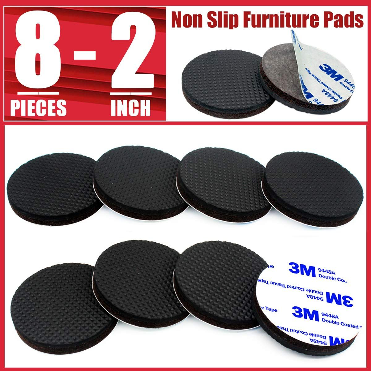 Non Slip Furniture Pads 8 Pcs 2a Furniture Grippers For Hardwood Floors Round Self Adhesive Anti Skid Furniture Pads Rubber Furniture Pads Furniture Grippers