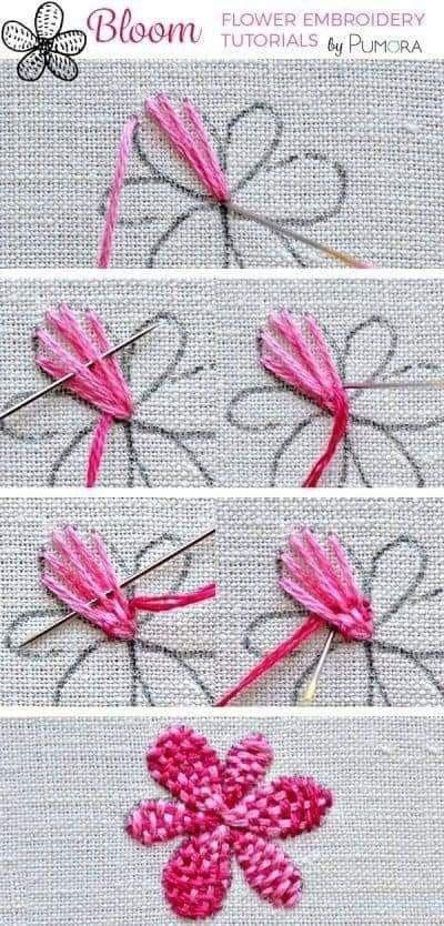 Bordado flores dos colores cuadrille | medallones bordados ...
