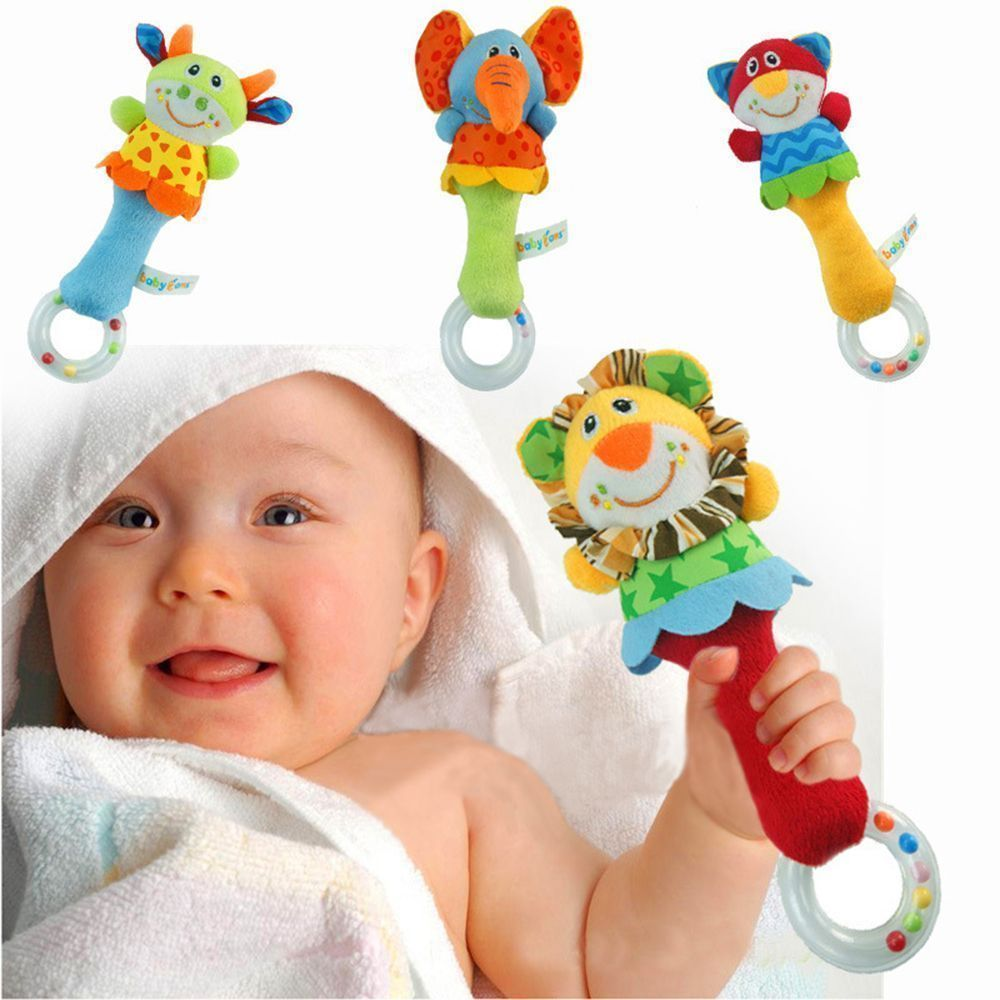 Kids Infant Baby Soft Handbells Rattles Car Bed Stroller Bell Toy Developmental