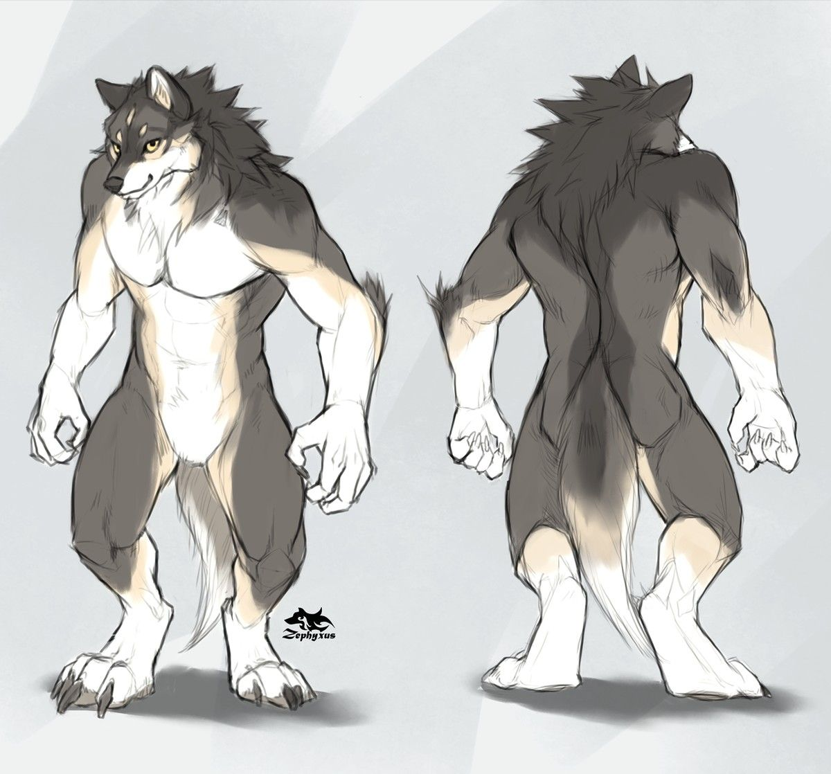 Werewolf Anthro Body Design With Images Anthro Furry Furry