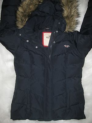 Women s Hollister Puffer Jacket Coat with Fur Hood Size M  542682c1f