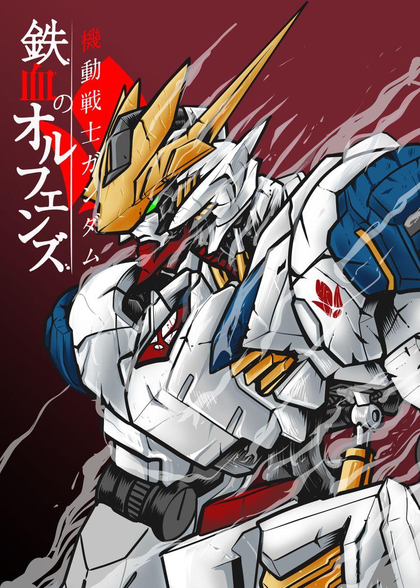 Barbatos Lupus Rex Gundam Poster By Wahyudi Artwork Displate Barbatos Lupus Barbatos Lupus Rex Gundam Iron Blooded Orphans
