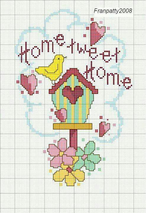 Casa Pajaros Home Tweet Home Casa En Punto De Cruz Pajaros