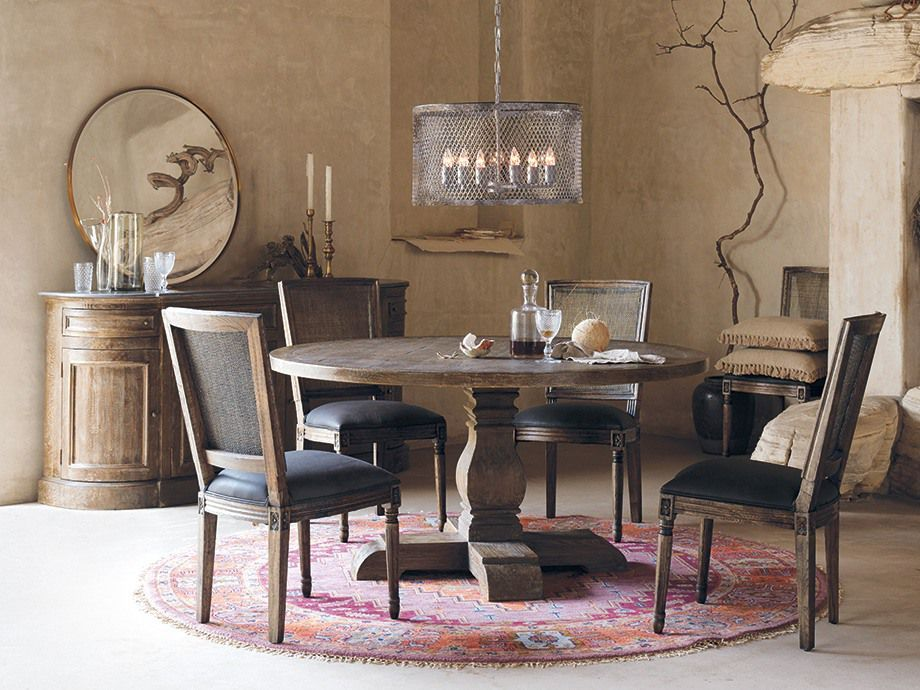Kensington Round Dining Table Arhaus Furniture Farmhouse Classics Add Warmth And Tra Farmhouse Table Chairs Round Dining Table Interior Design Dining Room