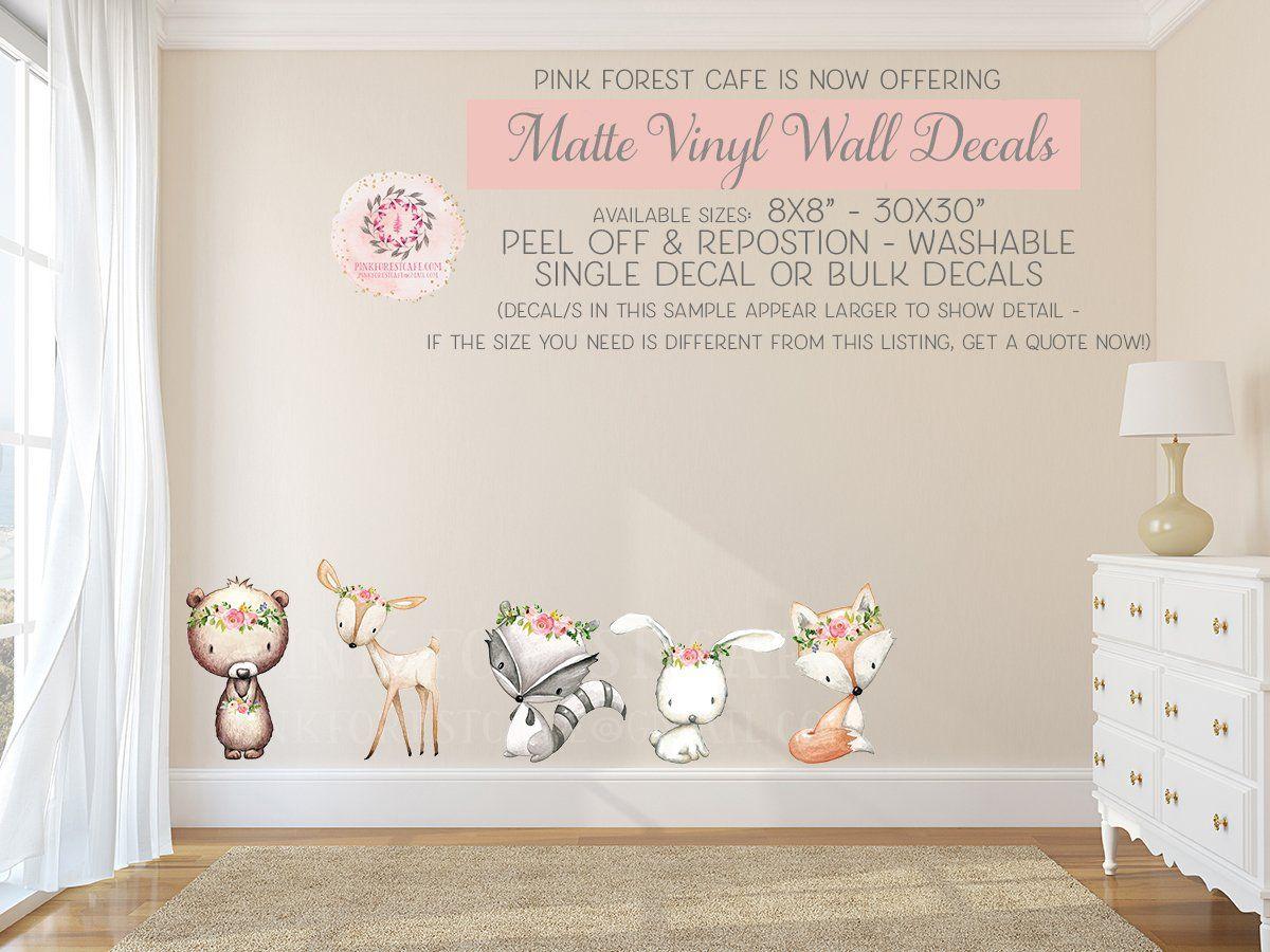 Boho Woodland Bear Bunny Deer Fox Wall Decal Baby Nursery