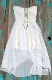 Country Cowgirl Lace High Low Dress With Beaded Necklace $35.99