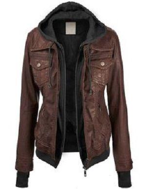 simple hoodie and leather jacket