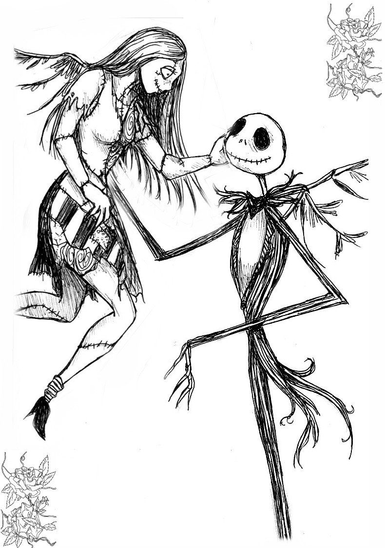 Jack And Sally Nightmare Before Christmas Coloring Pages ...