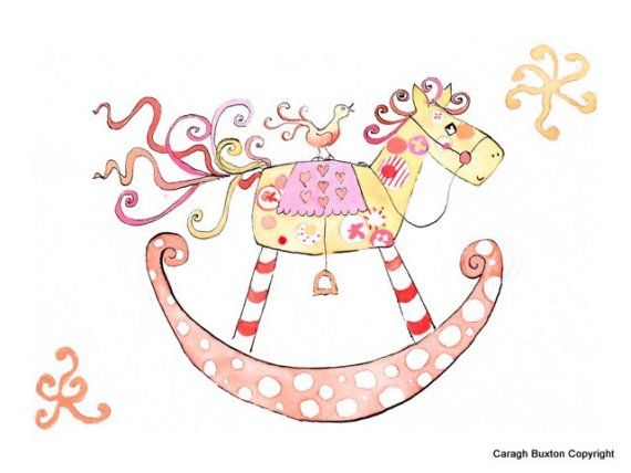 A pink rocking horse