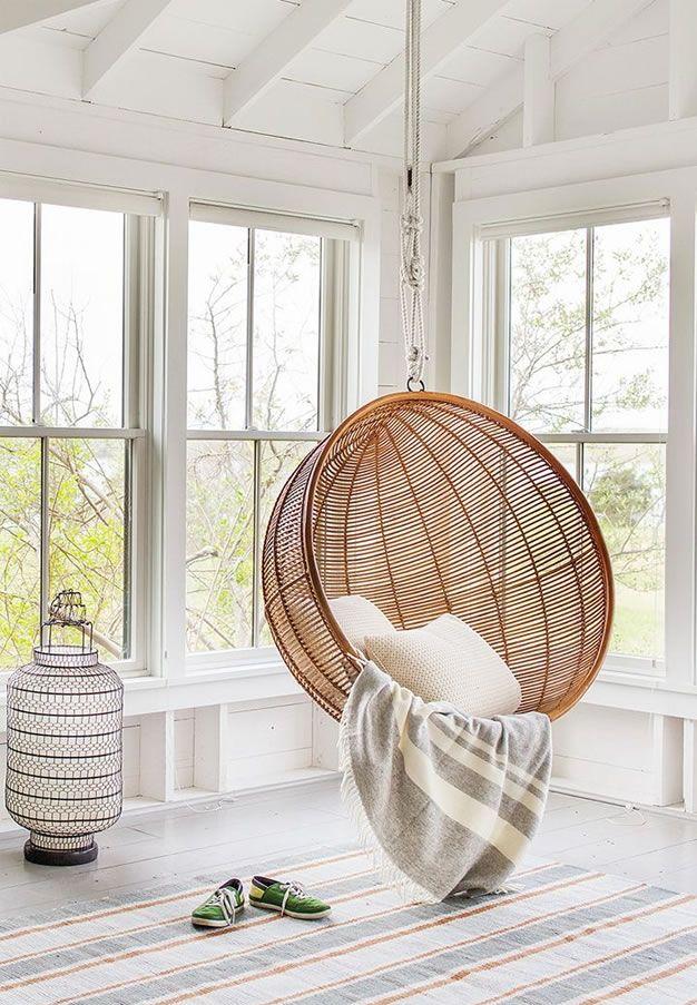 Hamacas y sofás colgantes en la decoración Minimalist interior - hamacas colgantes