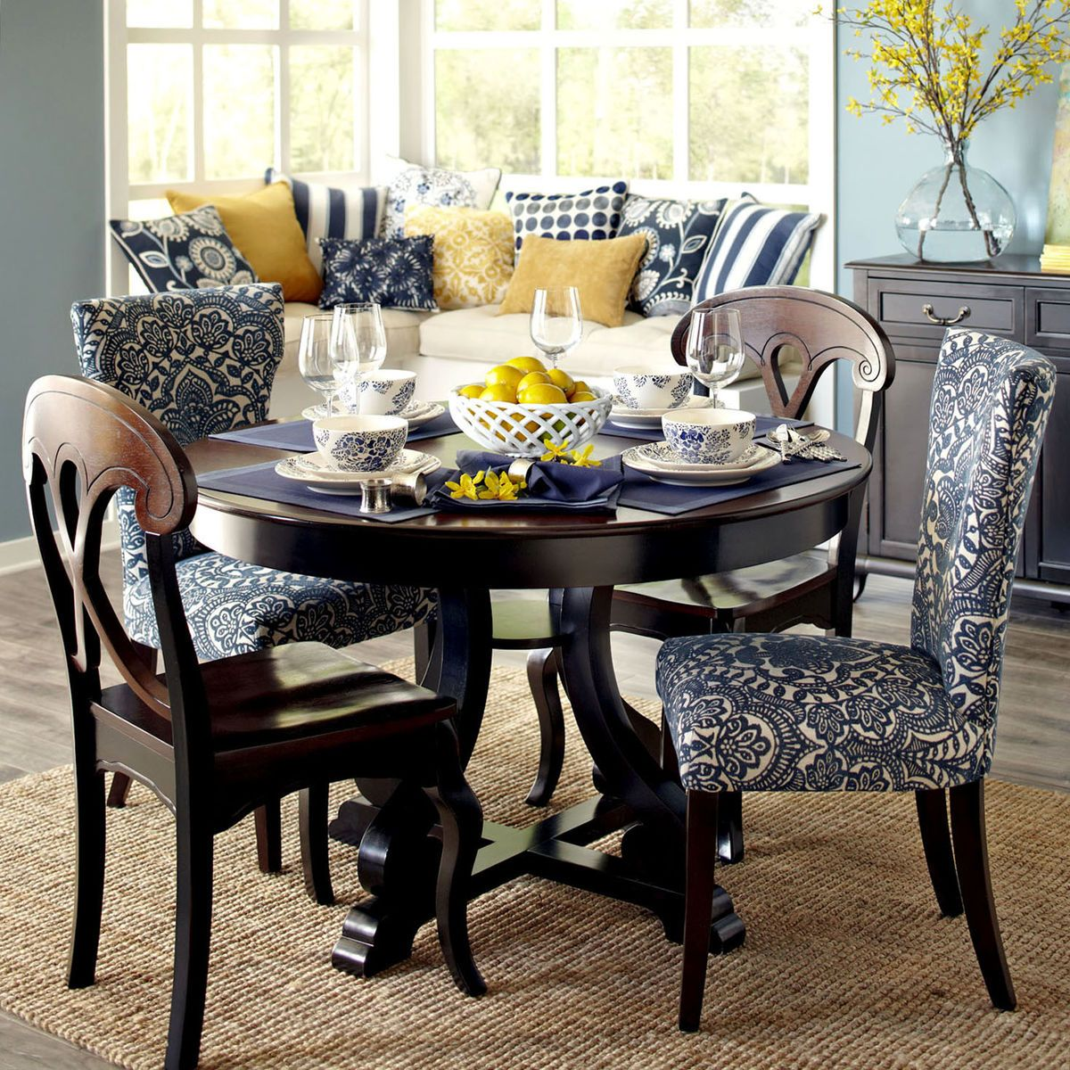 Damask Dining Chair Carmilla Blue Damask Dining Chair With Espresso Wood Decor
