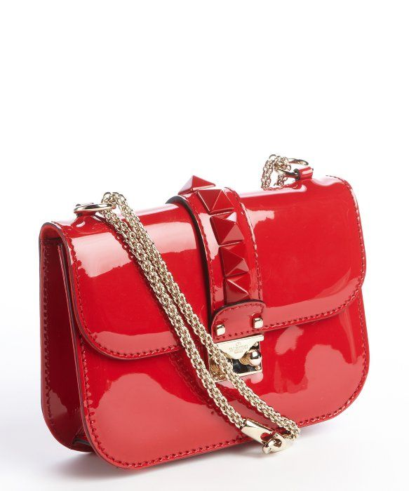 d2c1ab3a638 Valentino red patent leather  Rockstud  chain strap crossbody bag ...