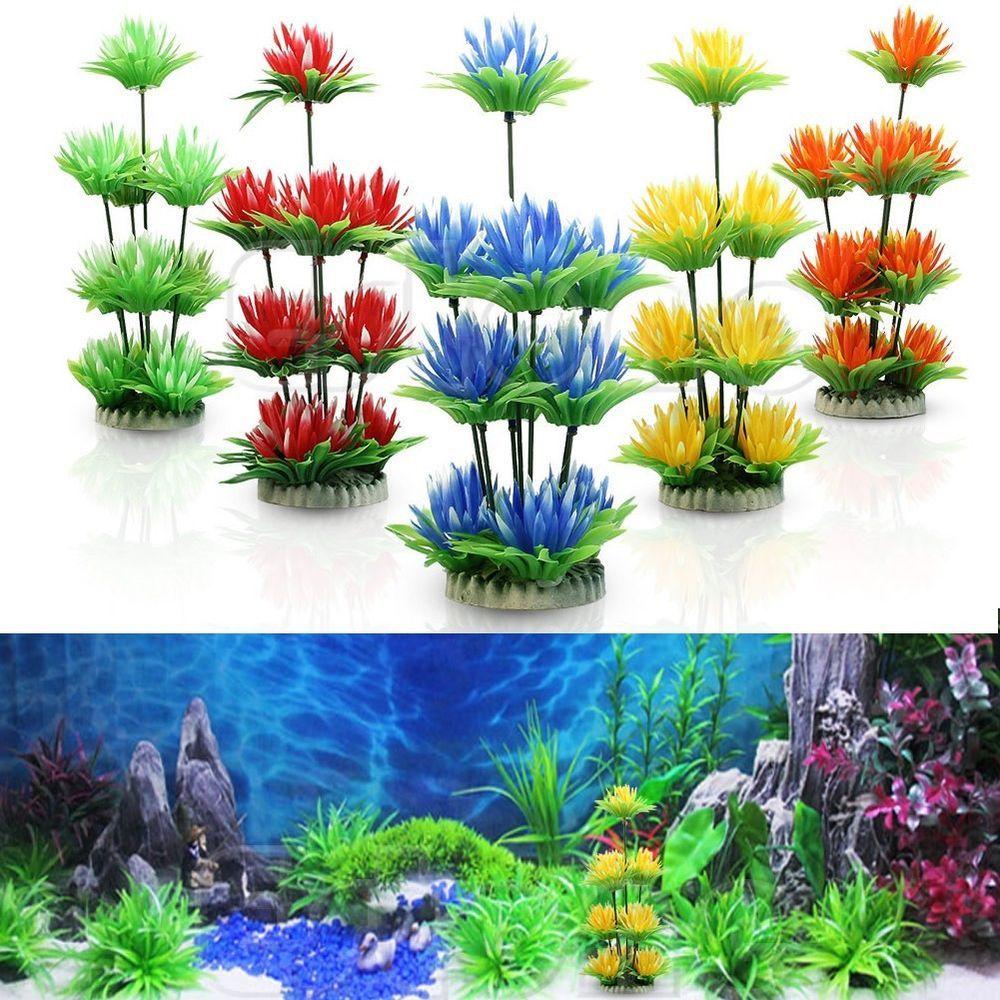Artificial Fake Fish Tank Plants Aquarium Aquatic Decoration Ornament Flower