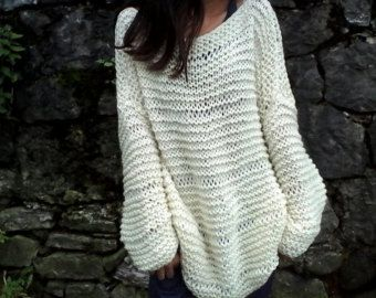 Ivory sweater / chunky wool sweater/ handknit sweater/ Oversized ...