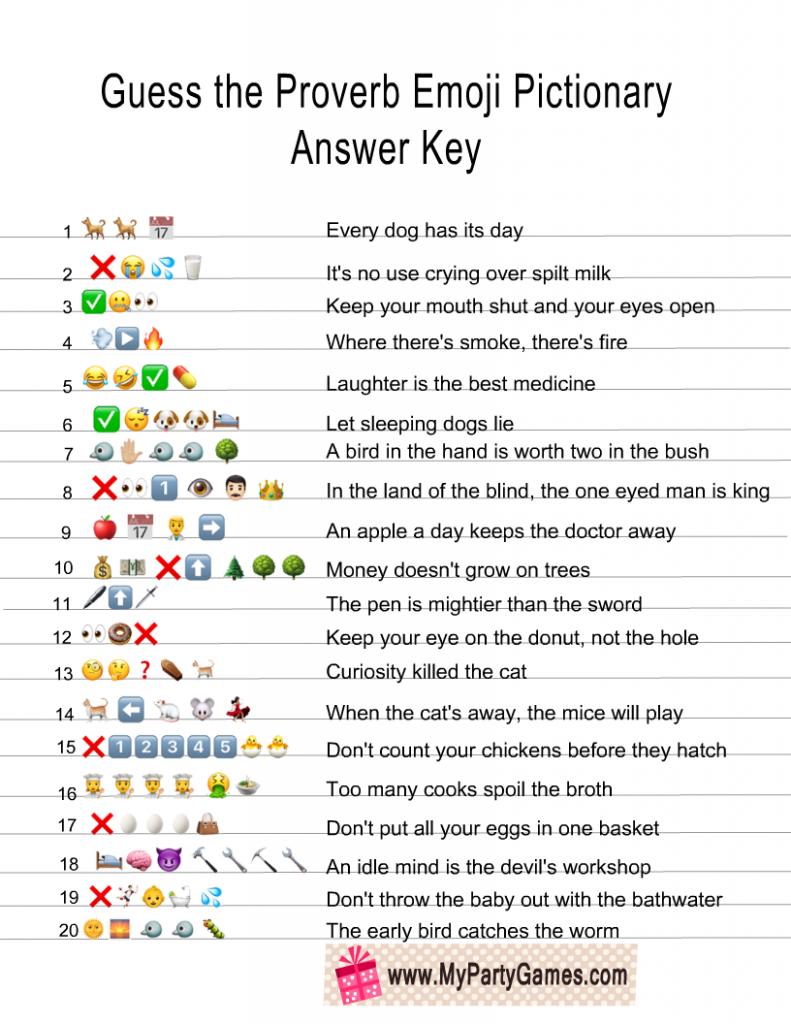 Free Printable Guess The Proverb Emoji Pictionary Quiz Guess The Emoji Emoji Emoji Quiz