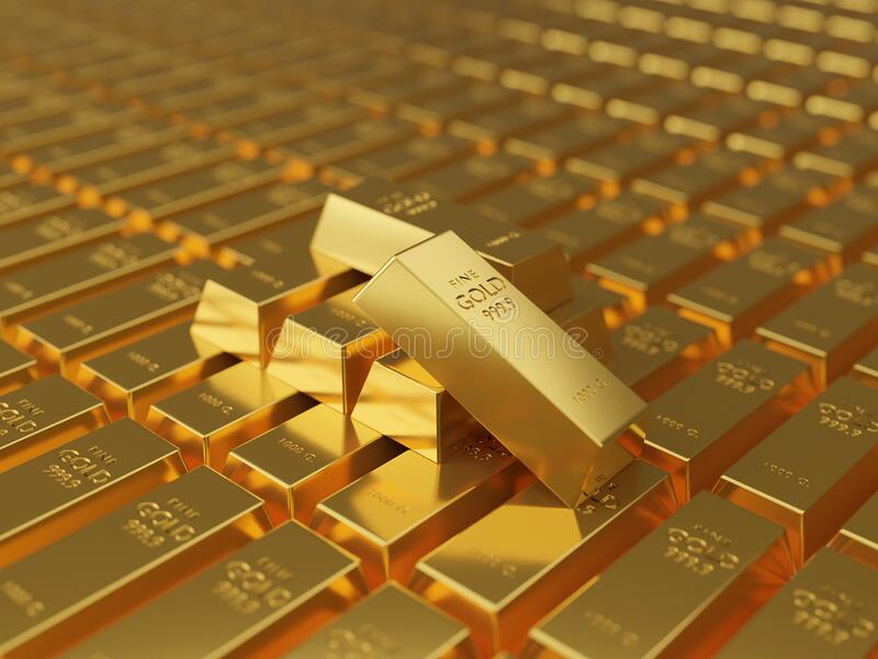 Macro View Of Stacks Of Gold Bars A Lot Of Gold Bars Stacked In The Warehouse Many Bullions Closeup 3d Generated Image Gold Bar Stock Illustration Bar Stock